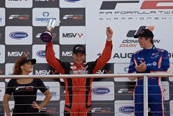 Podium celebrations: Kazim Vasilauskas and Julien Jousse