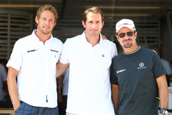 Jenson Button, Brawn GP with Olympic Champion Ben Ainslie and Rubens Barrichello, Brawn GP
