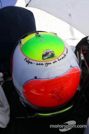 Rubens Barrichello, Brawn GP with an changed helmet design for his friend Felipe Massa, Scuderia Fer