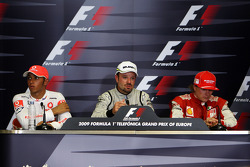 Press conference: race winner Rubens Barrichello, BrawnGP, second place Lewis Hamilton, McLaren Merc