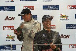 Renger van der Zande drenches Daniel Ricciardo in Champagne