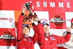 GT500 podium: second place Ronnie Quintarelli and Hironobu Yasuda