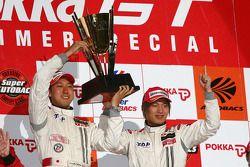 GT500 podium: class and overall winners Hiroaki Ishiura and Kazuya Oshima