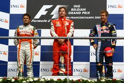 Podio: 2°, Giancarlo Fisichella, Force India F1 Team, 1°, Kimi Raikkonen, Scuderia Ferrari, 3°, Sebastian Vettel, Red Bull Racing