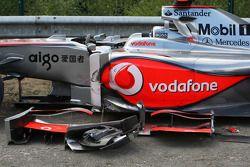 La voiture accidentée de Lewis Hamilton, McLaren Mercedes