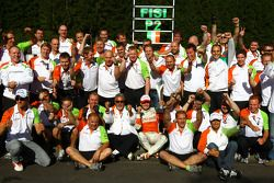 Force India Team celebration, Giancarlo Fisichella, Force India F1 Team and Vijay Mallya Force India F1 Team Owner