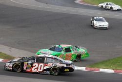 Cars go in every direction: Brad Coleman, Kyle Busch and Michael Annett