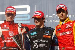 Alvaro Parente celebrates his victory on the podium and Nico Hulkenberg and Lucas Di Grassi
