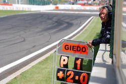 Paul Jackson, iSport International Team principal holds out Giedo Van der Garde pit board