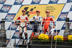 Podium: race winner Jorge Lorenzo, Fiat Yamaha Team, second place Alex De Angelis, San Carlo Honda G