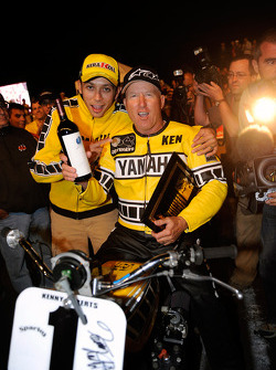 Kenny Roberts with the Yamaha TZ 750 and Valentino Rossi, Fiat Yamaha Team at the Indy Dirt Track Mi