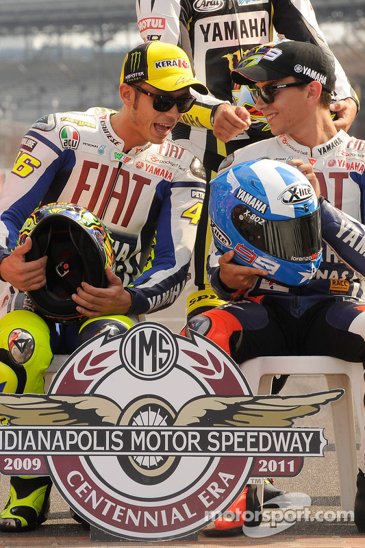 Valentino Rossi, Fiat Yamaha Team and Jorge Lorenzo, Fiat Yamaha Team at the Indianapolis Motor Spee