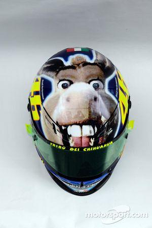 Nuevo diseño con un burro en el casco de Valentino Rossi, Fiat Yamaha Team