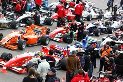 Formula Two cars line up at the assembly area