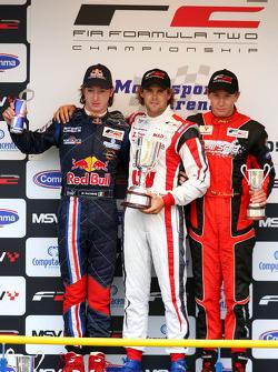 Mirko Bortolotti, Andy Soucek et Kazim Vasiliauskas le podium après la course 1