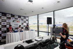 Kazim Vasiliauskas, race winner Andy Soucek and Mirko Bortolotti in the post race press conference