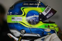 Ayrton Senna calcomanía en el casco de Augusto Farfus, BMW Team Germany, BMW 320si