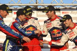 Mikko Hirvonen et Jarmo Lehtinen, avec Sébastien Loeb et Daniel Elena