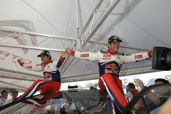 Provisional winners and final second Sébastien Loeb and Daniel Elena celebrate