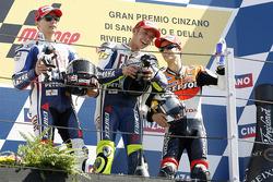 Podium: race winner Valentino Rossi, Fiat Yamaha Team, second place Jorge Lorenzo, Fiat Yamaha Team, third place Dani Pedrosa, Repsol Honda Team