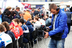 TV crew film the F2 drivers autograph session