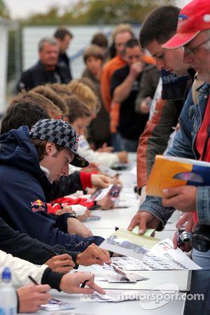 Mirko Bortolotti during the F2 driver autograph session