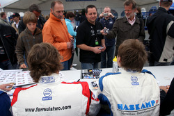 Andy Soucek and Jens Hoing during the F2 driver autograph session