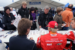 Philipp Eng and Sebastian Hohenthal during the F2 driver autograph session