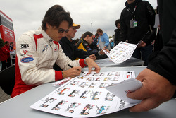 Milos Pavlovic during the F2 driver autograph session