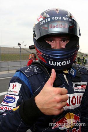 Race winner Mikhail Aleshin in parc ferme