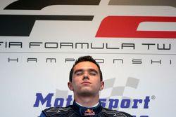 Race winner Mikhail Aleshin on the podium