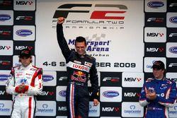 Andy Soucek, Mikhail Aleshin and Julien Jousse on the podium