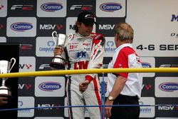 Andy Soucek and Jonathan Palmer Motorsport Vision Chief Executive on the podium