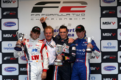 Andy Soucek, Jonathan Palmer Motorsport Vision Chief Executive, Mikhail Aleshin and Julien Jousse on