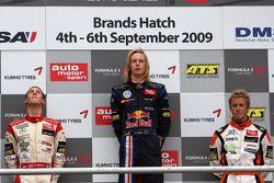 Podium, Alexander Sims, Mücke Motorsport, Dallara F308 Mercedes, Brendon Hartley, Carlin Motorsport,