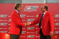 Luca di Montezemolo Ferrari President and Don Alfredo Saenz CEO Grupo Santander announce a five year partnership for Santander with the Ferrari team