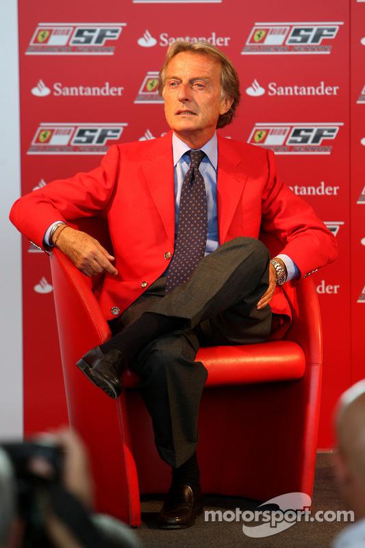 Luca di Montezemolo Ferrari Başkanı announces a five year partnership for Santander ve Ferrari team