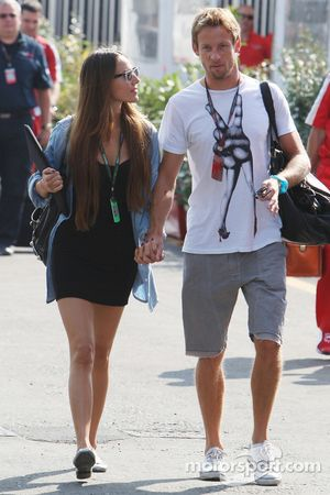 Jenson Button's girlfriend Jessica Michibata and Jenson Button, Brawn GP