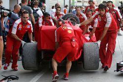 The crashed car of Giancarlo Fisichella, Scuderia Ferrari
