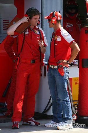 Rob Smedly, Scuderia Ferrari, Track Engineer and Michael Schumacher, Test Driver, Scuderia Ferrari