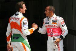 Pole winner Lewis Hamilton, McLaren Mercedes with second place Adrian Sutil, Force India F1 Team