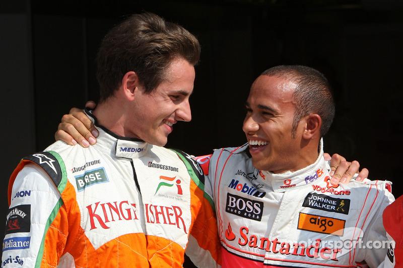 Ganador de la pole Lewis Hamilton, McLaren Mercedes con el segundp puesto Adrian Sutil, Force India F1 Team