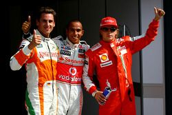 Pole winner Lewis Hamilton, McLaren Mercedes with second place Adrian Sutil, Force India F1 Team and