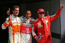 Pole winner Lewis Hamilton, McLaren Mercedes with second place Adrian Sutil, Force India F1 Team and third Kimi Raikkonen, Scuderia Ferrari