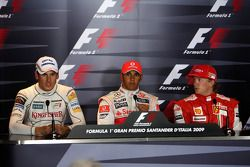 FIA press conference: pole winner Lewis Hamilton, McLaren Mercedes with second place Adrian Sutil, Force India F1 Team and third Kimi Raikkonen, Scuderia Ferrari