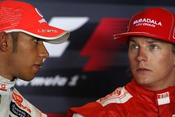 FIA press conference: pole winner Lewis Hamilton, McLaren Mercedes with third Kimi Raikkonen, Scuderia Ferrari