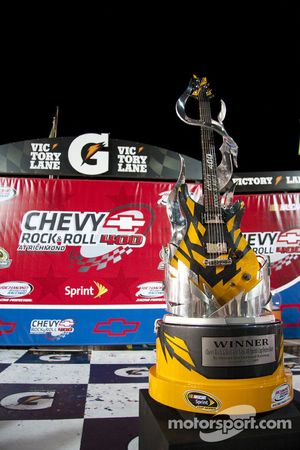 Victory lane: the winning trophy