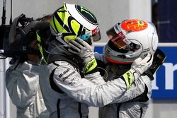 Race winner Rubens Barrichello, BrawnGP, second place Jenson Button, BrawnGP, celebrate