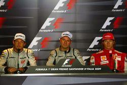 FIA press conference: race winner Rubens Barrichello, BrawnGP, second place Jenson Button, BrawnGP, third place Kimi Raikkonen, Scuderia Ferrari
