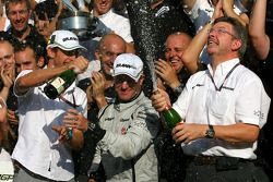 Race winner Rubens Barrichello, Brawn GP, celebrates with Jenson Button, BrawnGP, Ross Brawn, Brawn